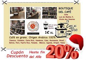 cupon descuento del 20% al comprar cualquier producto de Boutique del cafe.